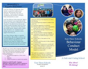 Brochure page 1 Behaviour Conduct Model