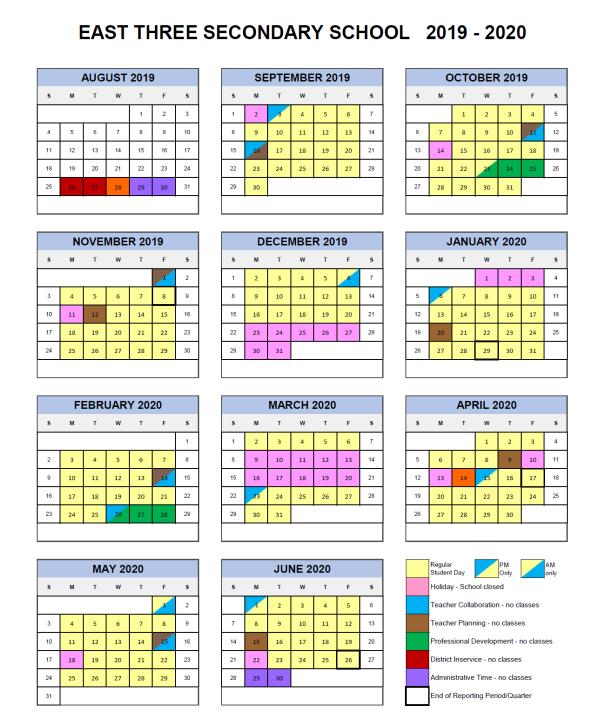 2019-20 Calendar